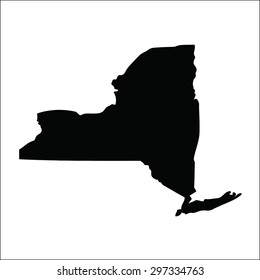 New York black vector flat design map