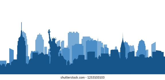 New York blue panorama with shadows on white background. Blue background of houses.Vector illustration.Flat design for business financial marketing advertisement advertisement web concept illustration