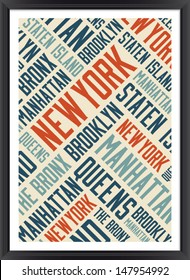 New York boroughs words cloud poster