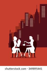 New York breakfast women silhouettes