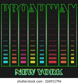 New York, Broadway, neon background, typography, t-shirt graphics, poster, banner, flyer, postcard, vector