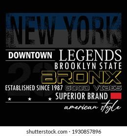 New York Bronx Stylish Typography Graphic Slogan T shirt Stock Vector Illustration Design