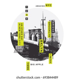 New York Brooklyn bridge illustration, tee shirt graphics, vectors, typography