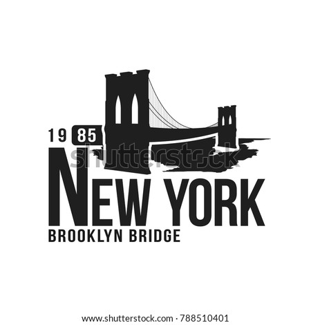 a69c6c3f New York, Brooklyn Bridge typography for t-shirt print. Stylized Brooklyn  Bridge silhouette. Tee shirt graphic, t-shirt design. Vector - Vector