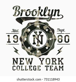 New York, Brooklyn - camouflage typography for design clothes, athletic t-shirt. Graphics for print product, apparel. Badge for sportswear, college team. Vector illustration.