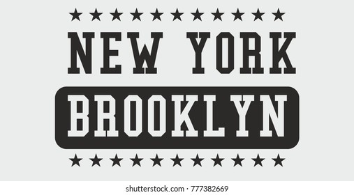 New York Brooklyn College style Embroidery and printing graphic design vector artwork
