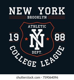 New York, Brooklyn graphic for t-shirt. Original clothes design with shield. Apparel typography. Sportswear print. Vector illustration.