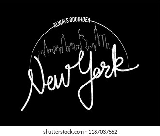 New York Brooklyn hand made city  silhouette calligraphy Fashion Slogan with line Typography modern Fashion Slogan for T-shirt and apparels graphic vector Print.