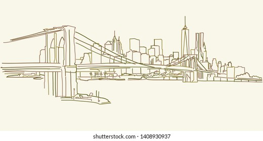 New York Brooklyn Panorama drawing, brown colored version for Apps, Print or web backgrounds