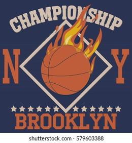 New york Brooklyn sport typography t-shirt basketball burning ball champion college team  - vector