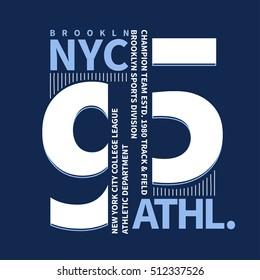 New York Brooklyn Sport wear typography emblem, t-shirt stamp graphics, tee print, athletic apparel design