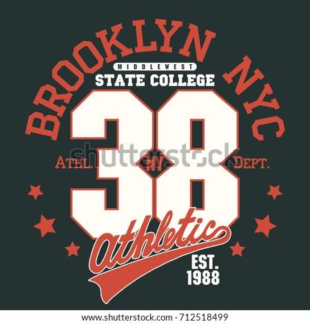 535bbb59 New York Brooklyn Sport wear typography emblem, t-shirt stamp graphics, tee  print, athletic apparel design - Vector