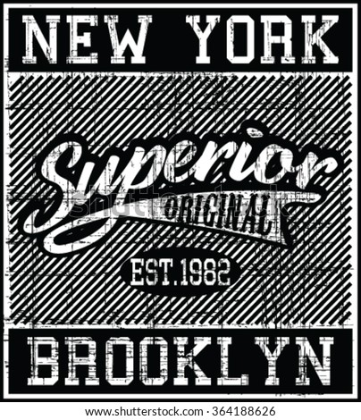 fd0e9201 New York - Brooklyn Superior vector print and varsity. For t-shirt or other  uses in vector.T shirt graphic - Vector