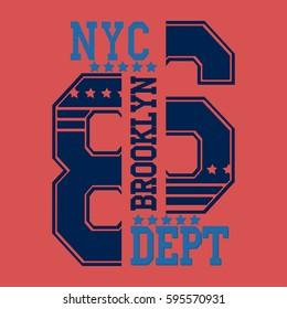 New york Brooklyn typography fashion, t-shirt graphics - vector