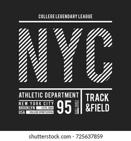 New York, Brooklyn typography for t-shirt print. Athletic patch for tee graphic. T-shirt design. Vector