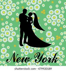 New york Brooklyn typography wedding love couple t-shirt - vector