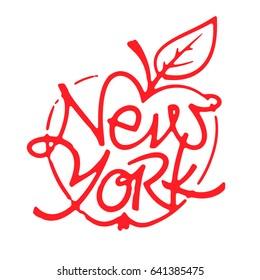New York brush lettering design for t-shirt, mug, poster. Big apple. NYC logo. Apparel Print.
