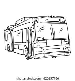 New York bus illustration. Sketch style. Vector