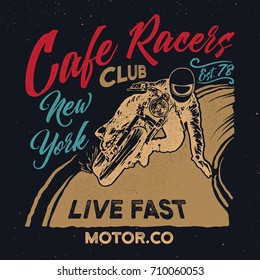 New york cafe racers club. Motorcycle.Cafe racer vintage poster.Typography design for t shirt print.