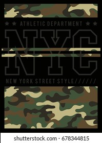 New York  camouflage typography, t-shirt graphic, vector