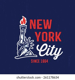 New York City 1664 T shirt apparel fashion design. Liberty Statue Vector Illustration and American Flag Background. Vintage Retro NYC Print Poster. Travel Souvenir Idea.