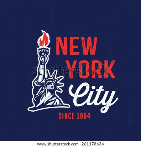 ded6f61a9538d5 New York City 1664 T shirt apparel fashion design. Liberty Statue Vector  Illustration and American Flag Background. Vintage Retro NYC Print Poster.  Travel ...