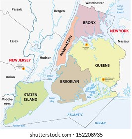 new york city, 5 boroughs map