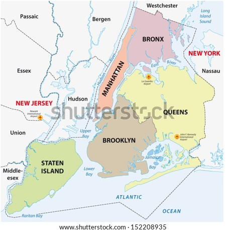 New York City 5 Boroughs Map Stock Vector Royalty Free 152208935