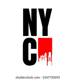 New York City abbreviation NYC lettering a modern city symbol isolated on white background