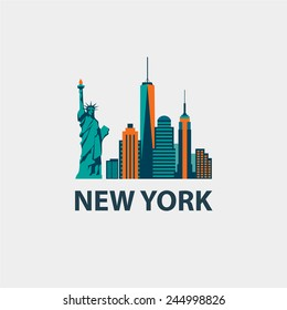 New York city architecture retro vector illustration, skyline city silhouette, skyscraper, flat design