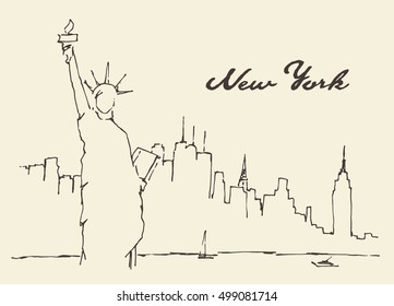 New York city architecture with Statue of Liberty on front, vector illustration, hand drawn, sketch