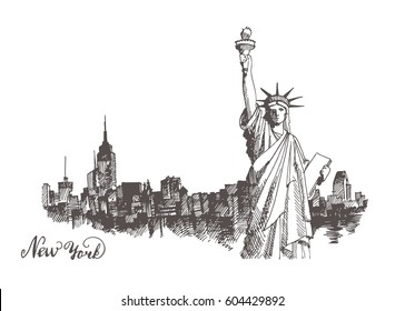 New York city architecture with Statue of Liberty on front, vector vintage engraved illustration, hand drawn, sketch.
