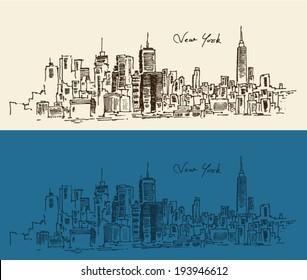 New York city architecture, vintage engraved illustration, hand drawn