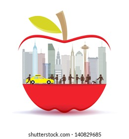 New York city in the big apple, illustrator vector