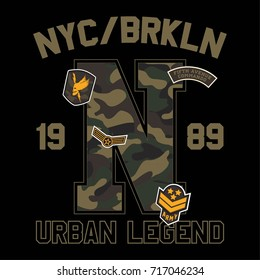 New York City Brooklyn Camouflage College With Slogan Army Badges, Pins, Patches Soldier T-shirt and apparels print graphic vector Varsity typography Urban Camo.
