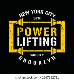 New york city, brooklyn, power lifting, gym, typography graphic design, for t-shirt prints, vector illustration