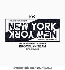 New York City, Brooklyn typography graphics for t-shirt. Grunge print for NYC athletic apparel. Original street clothes design. Vector.