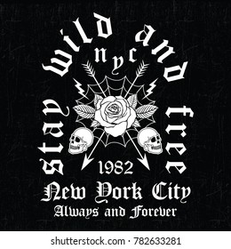 New York City embroidery rose and skull slogan fashion patch, rose with leaves, fashion patches, badges  typography, t-shirt graphics, vectors