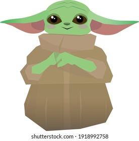 New York City - FEBRUARY 1 2021 : Mandalorian and Baby Yoda illustration vector