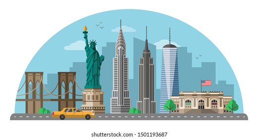 New York city flat vector illustration. United states modern metropolis isolated clipart on white background. US world famous landmarks and tourist attractions cartoon design elements