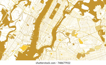 New York City Golden Map. Vector Illustration.