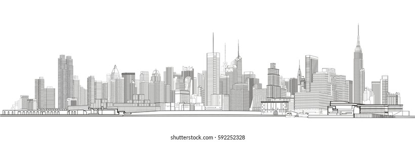 New York City graphic skyline. Cityscape Vector illustration.
