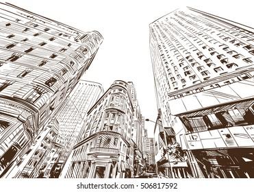 New York city hand drawn. Street sketch, vector illustration