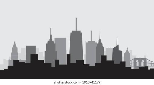 New York City highrise skyline simplicity flat design. Vector illustration.