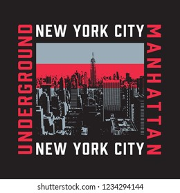 New York city illustration, tee shirt graphics, vectors