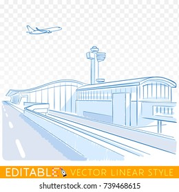 New york city jfk airport. Plane above the NY airport tower. Editable sketch in blue ink style. Hand drawn doodle vector illustration.
