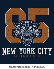 New York City legend tiger, athletic division vector print and varsity. For t-shirt or other uses in vector.T shirt graphic