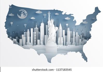 New York City se sochou Svobody a mapa Spojených států amerických v papírovém střihu uměleckého stylu vektorové ilustrace. Cestovní plakát, pohlednice a reklama.