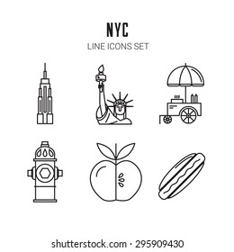 New York City. Line icons set. Vector eps 10