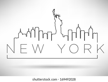 New York City Line Silhouette Typography Design